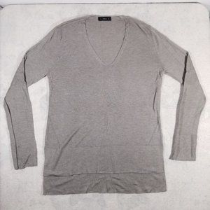 ZaraKnit Grey V-Neck Lightweight Knit Sweatshirt